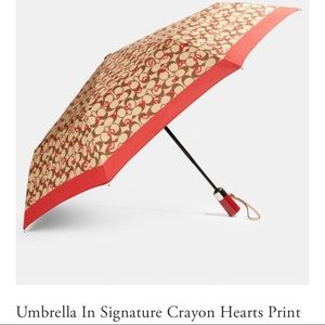 NWT Coach Umbrella With Crayon Hearts Print